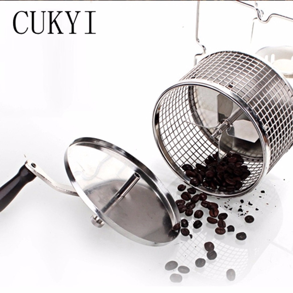 CUKYI Stainless Steel Handuse Coffee bean roaster Espresso coffee bean Roaster with a burner machine Easy operating cukyi household electric multi function cooker 220v stainless steel colorful stew cook steam machine 5 in 1