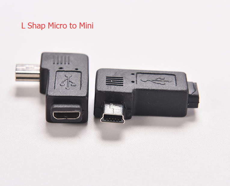 1PC4 Type Black Straight / L Shape Micro / Mini USB Female to Mini / Micro USB Male Adapter Charger Connector Converter Adaptor mini black usb type a female to usb type b male converter connector adapter