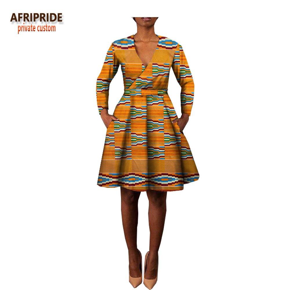 2018 Women African Dress Spring V Neck Belt Dress African -8066
