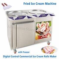 55cm Pans Fried Rolled Ice Cream Yogurt Roll Machine Electric Digital Control Thai Style Icecream Roll Maker