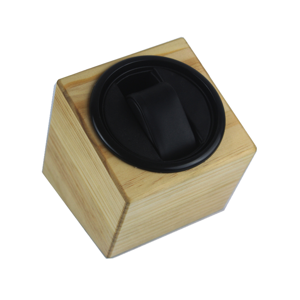Watch Winder ,LT Wooden Automatic Rotation 1+0 Storage Case Display Box(Outside is pine  color and Inside is black)2018
