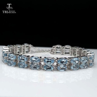 TBJ,12ct natural sky blue topaz gemstone bracelet in 925 sterling silver with jewelry box girls as birthday party nice gift
