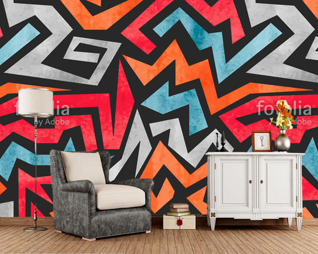 Custom Graffiti Wallpaper Geometric Abstract Mural For Living Room Bedroom Children Room Background Wallpaper Home