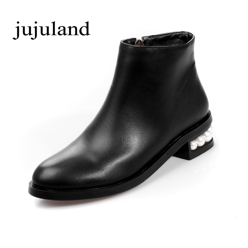 Spring/Autumn Women Shoes Genuine Leather Ankle Boots Chelsea Boots Zip Zipper Square Heels Fashion Leisure Round Toe Big Size big size 34 42 high quality genuine leather leisure low heels ankle boots fashion cowhide round toe platform women boots
