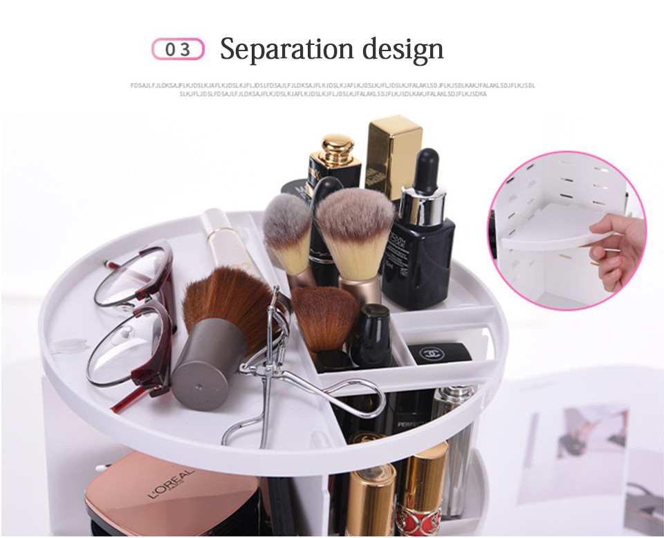360 Degree Rotating Makeup Organizer Multifunction Jewelry Cosmetic Lipstick Brushes Make Up Organizer Plastic Storage Box Case 05