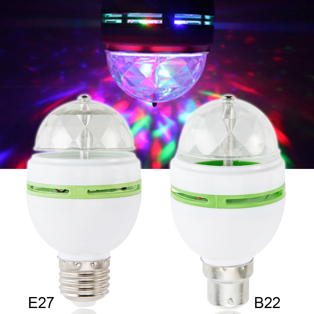 Us 3 76 B22 E27 Ac 120v 220v Led Stage Lighting Lamp Rgb Party Lights 3w Colorful Bulbs Dj Light Show Auta Rotating Lamps In S From