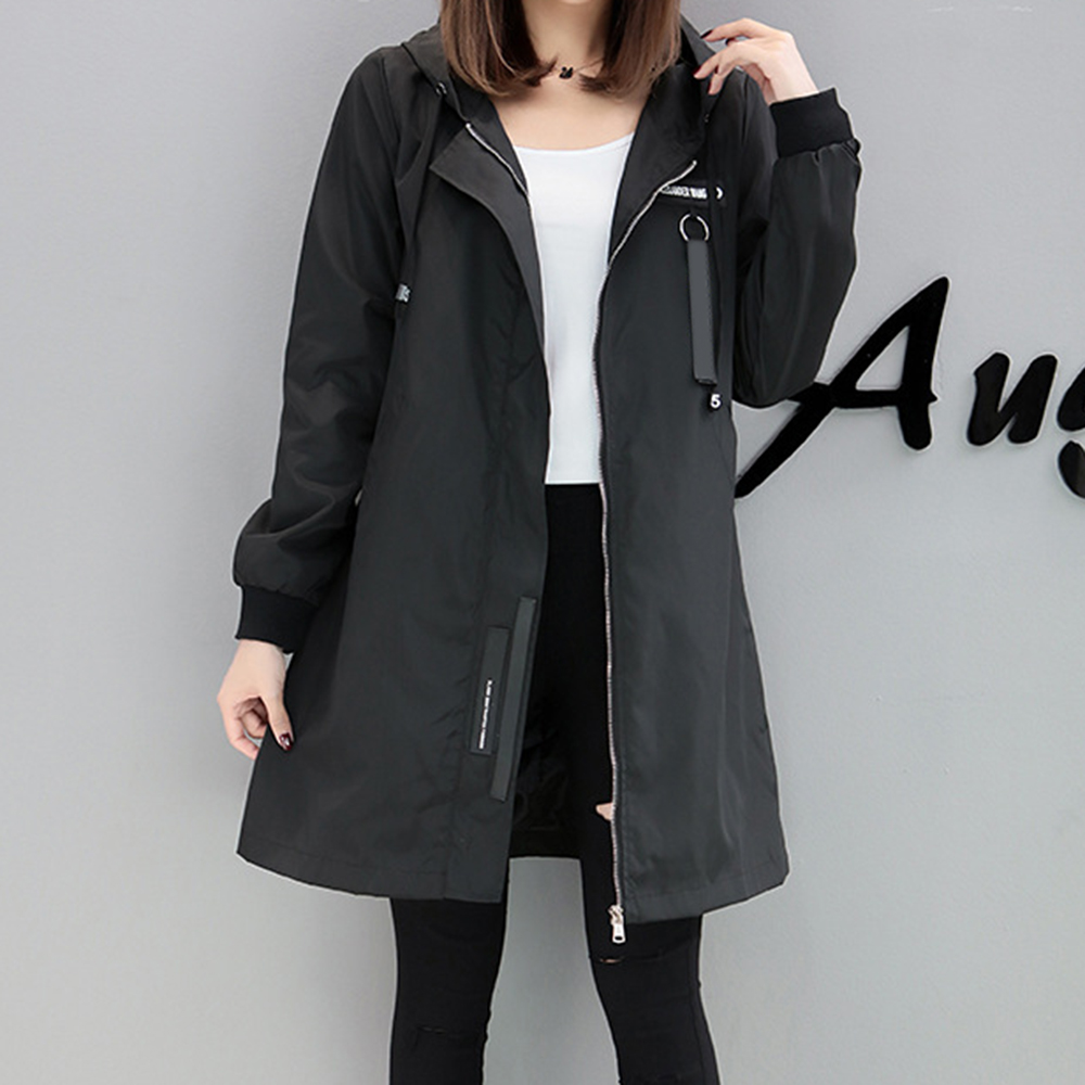 2 Colors Autumn Trench Long Sleeve Casual Loose Hoodies Outerwear Female Pregnant Women Slim Medium Coat Baseball Uniform Jacket 2015 new mori girl wave raglan hooded loose sleeve medium long wadded jacket female page 4