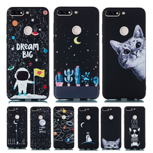 Silicon Cover for Honor 7C Case For Huawei Y7 prime 2018 Enjoy 8 NOVA 2 lite Starry Sky Moon Astronaut Cat