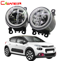 Cawanerl For 2005 2010 Citroen C3 FC_ Hatchback Car 4000LM LED Bulb Fog Light + Angel Eye Daytime Running Light DRL 12V 2 Pieces