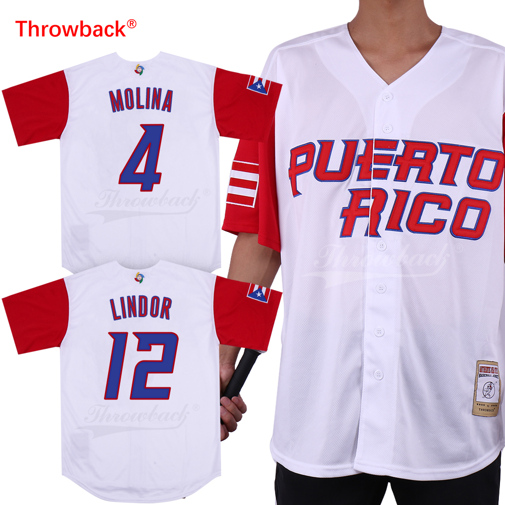 timeless design 082d5 b23a0 US $25.99 |Throwback Jersey Men's Puerto Rico Movie Baseball Jerseys Molina  Jersey White Red Shirt Stiched Size S 3XL Free Shipping Cheap-in Baseball  ...