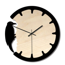 Home Woodpecker Wall Clock Creative European Vintage Wood Bird Clock Home decoration Wall hangings