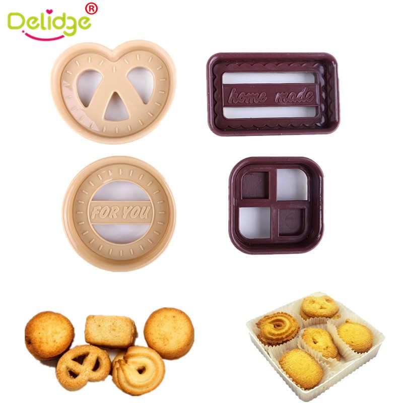 Delidge 4 قطعة/الوحدة مستديرة مربع القلب الأشكال كوكي قوالب الغذاء الصف البلاستيك لتقوم بها بنفسك كوكي قوالب لون عشوائي الخبز قوالب