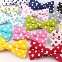 100% Cotton Men Bowtie Casual Shirts Bow tie For Bowknot Adult Dot Print Ties Cravats Wedding Butterfly Yellow Bowties