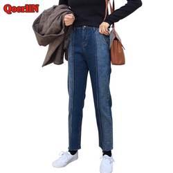 QoerliN Высокая талия лоскутные модные Винтаж рваные джинсы-варёнки Для женщин Демисезонный джинсовые штаны длинные шаровары плюс Размеры