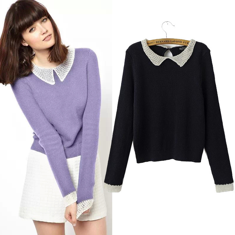 Online Shop WST226# Women's Knitted Peter Pan Collar Sweater And ...