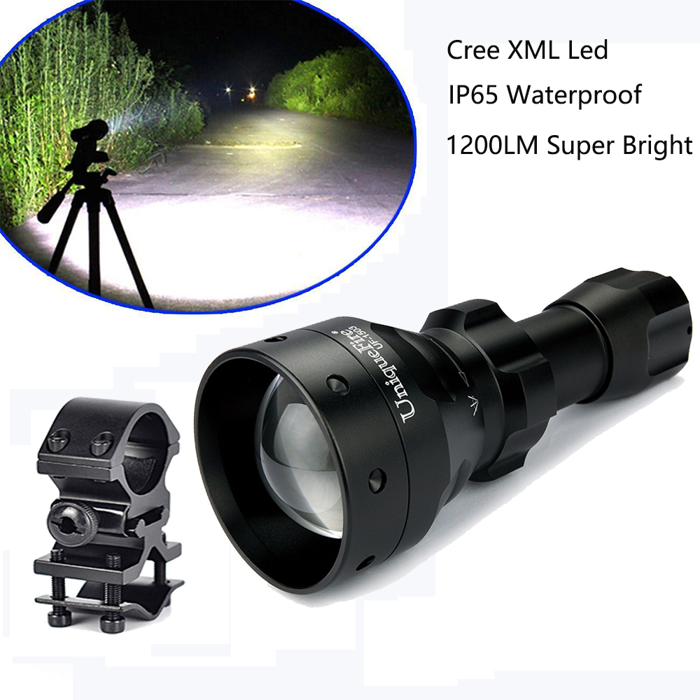 UniqueFire 1200LM Powerful Flashlight 1503 Cree XM-L2 Led Zoom 5 Modes Defense Flashlight Torch+Scope Mount For Hunting Trip uniquefire uf 1200 super bright cree u2 lamp flashlight light from outdoor hiking night fishing hunting led flashlight