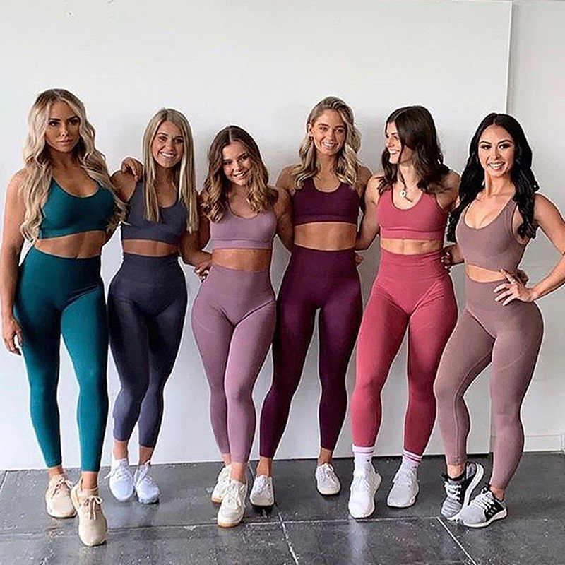 New Women/'s Training 2 Piece Gym Set Running Workout Pants and Cami Top Grey