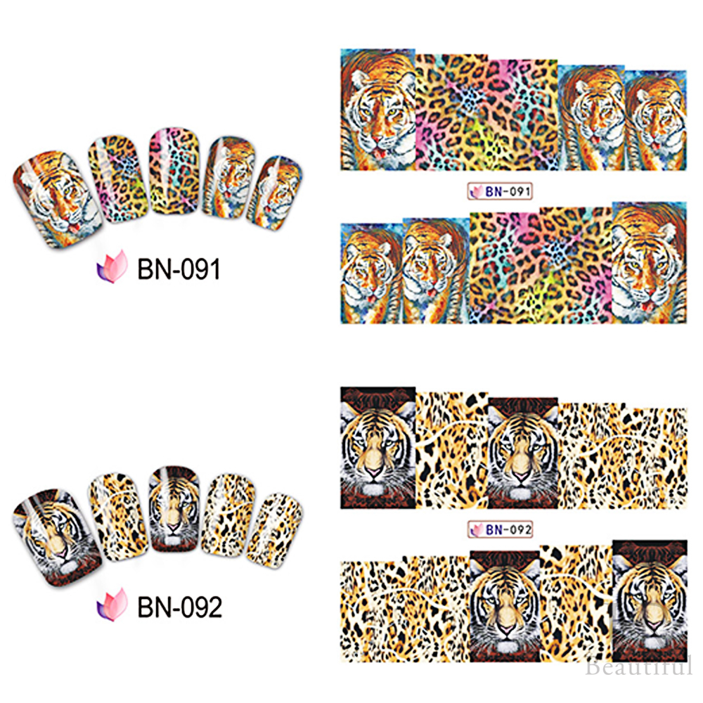 Image 5 - 12 Designs In 1 Set Fashion Style Nail Sticker Water Transfer Tiger Leopard Animal Full Tip Nail Art Tool BEBN85 96-in Stickers & Decals from Beauty & Health