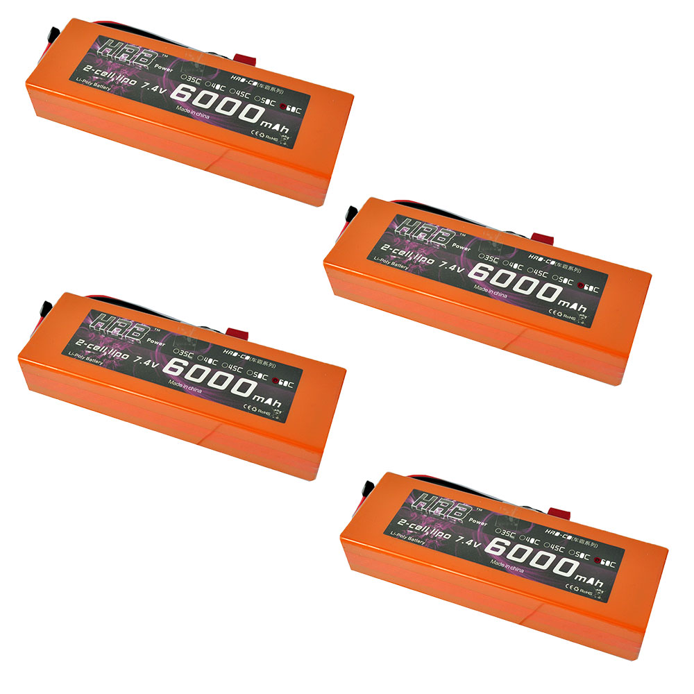 4pcs HRB RC Orange Hard Case Car Lipo 2S Battery 7.4V 6000mAh 60C 120C AKKU For Airplane Traxxas 1/10 Car Truck Airplane mos rc airplane lipo battery 3s 11 1v 5200mah 40c for quadrotor rc boat rc car