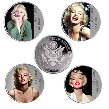4p/lot Us Silver Plated Coin Marilyn Monroe Collectibles Replica Coins Art Crafts Worth Collection Home Decoration Accessories