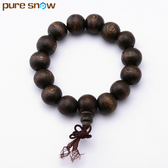 2017 Charm Jewelry Handmade Bead Elastic Wood Bracelet Pop Men And Women Vintage Black