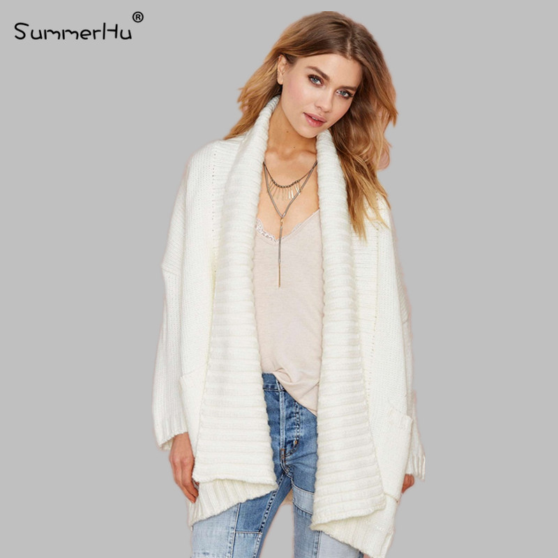 SMH Autumn Winter Women Long Sleeve Large Lapel Cardigan