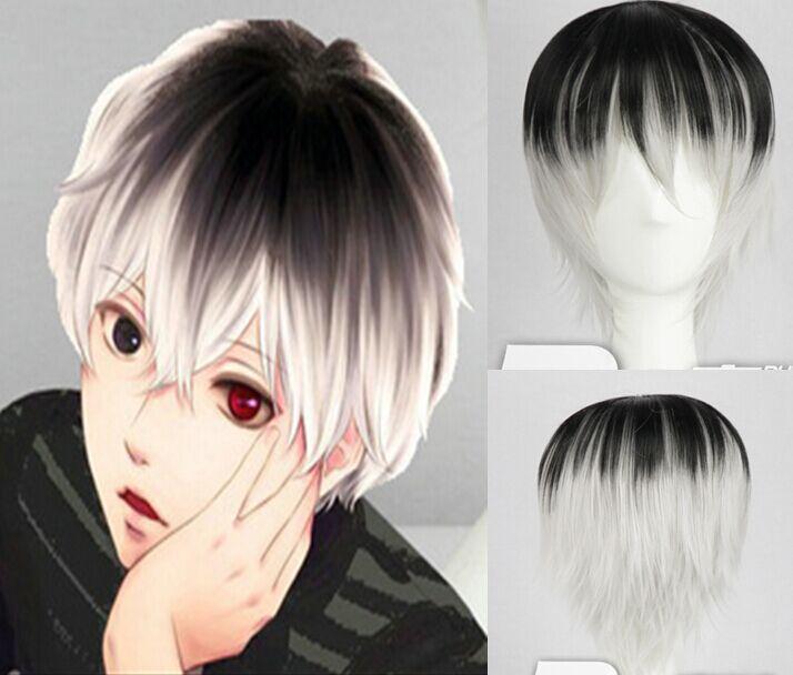 black mix silver white ombre