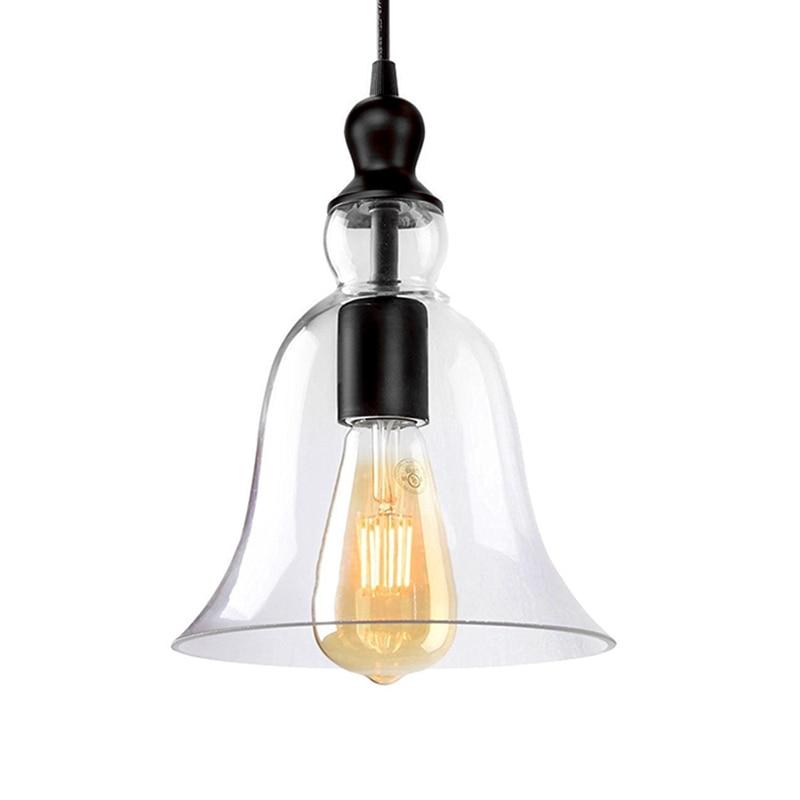 Pendant Lights Glass Material Bell Shape Vintage Chandelier Semi Embedded Installation Of Pendant Lamp Fixture