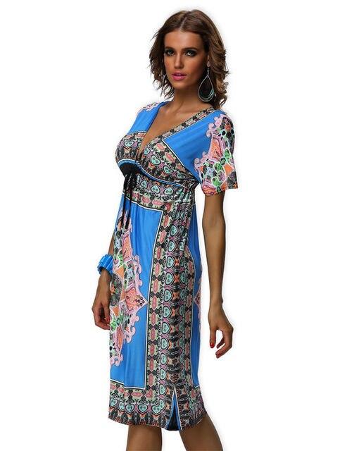 2be546ab01 US $10.96 12% OFF|Women Beach Dress Free Shipping Vintage Paisley Print V  Neck Low Cut Hippie Boho Club Dress New Fashion Casual Summer Dress-in ...