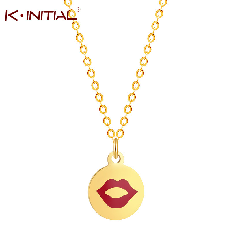 Kinitial Gold Sliver Color Stainless Steel Love Necklace Women Men Fashion Necklace Pendant Cute Expression Emoji Jewelry Gift