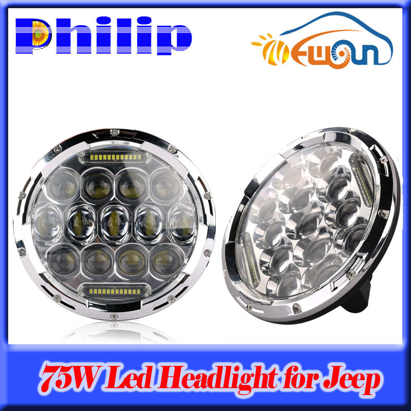 2PCS 7 Inch 75W LED Headlight Hi/Lo Beam Car Styling Fog Light DRL Parking Light  For JEEP Hummer Camaro FJ Cruiser car light 4x6 inch rectangular led work light drl hi lo beam headlight for peterbilt freightliner truck 4pcs set