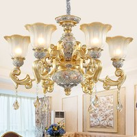 European Chandelier Lighting Luxury Living Room Crystal Chandelier Vintage Restaurant Chandelier Atmosphere Resin Bedroom Lights