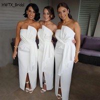 Long African 2018 Bridesmaid Dresses Strapless White Satin Split Ankle Length Maid of the Honor Gowns Wedding Party Dress Cheap