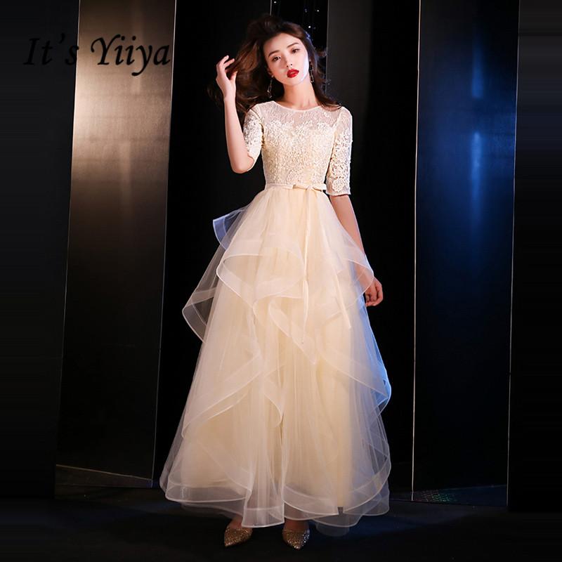It's YiiYa   Evening     Dress   2019 Elegant O-neck Half Sleeve A-line   Evening   Gowns Lace Up Party   Dresses   LX1396 robe de soiree