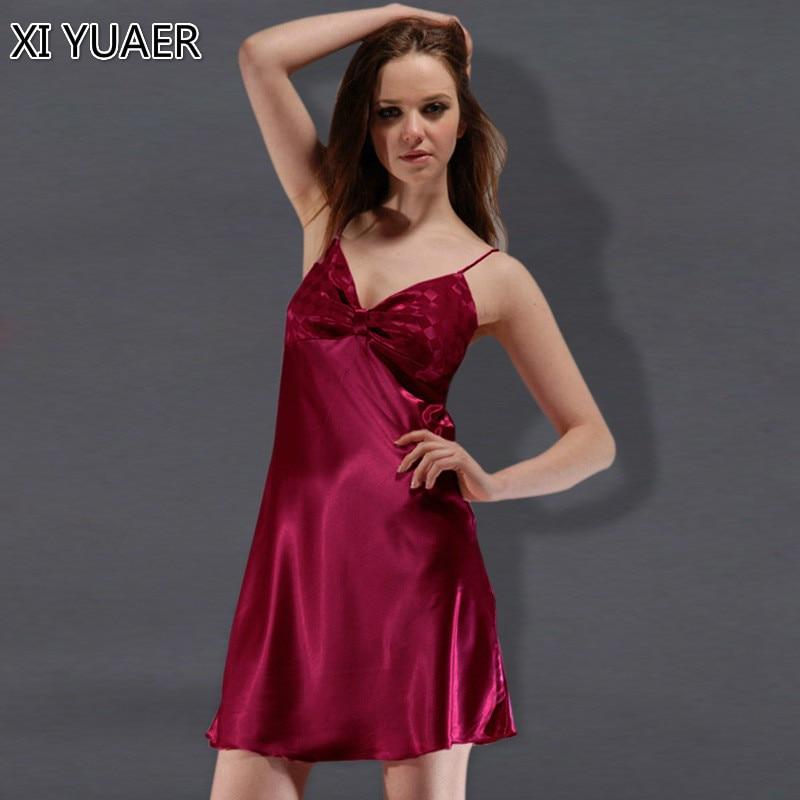 Silk Dressing Gowns Ladies: XI YUAER Fashion Women Nightgowns 2019 Faux Silk New