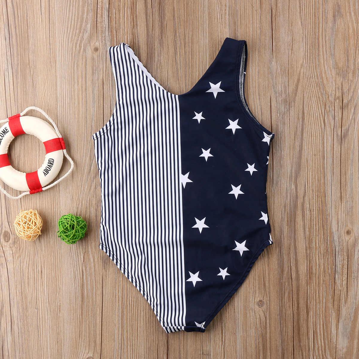 99d62ac1895 ... Mom Girl Matching One-piece Swimsuit Ladies Girls Stars Striped  Swimwear Swimsuits Bikini Beach Costume ...