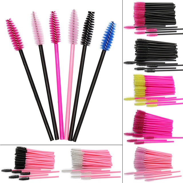 SinSo 50pcs Colorful Disposable Eyelash Applicator Wands Curler Brush Set Mascara Eyebrow Spoolers Comb Wands Spoolies Brushes 1