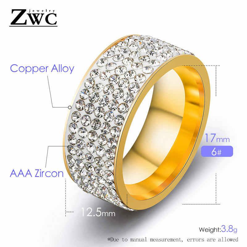 ZWC แฟชั่นอินเทรนด์ Rhinestone แหวนผู้หญิงผู้ชาย 8 มม. 5 แถวเส้นคริสตัลแต่งงานแหวนสแตนเลสเครื่องประดับ