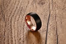 Мужское кольцо из вольфрамовой стали черное 8 мм для мужчин