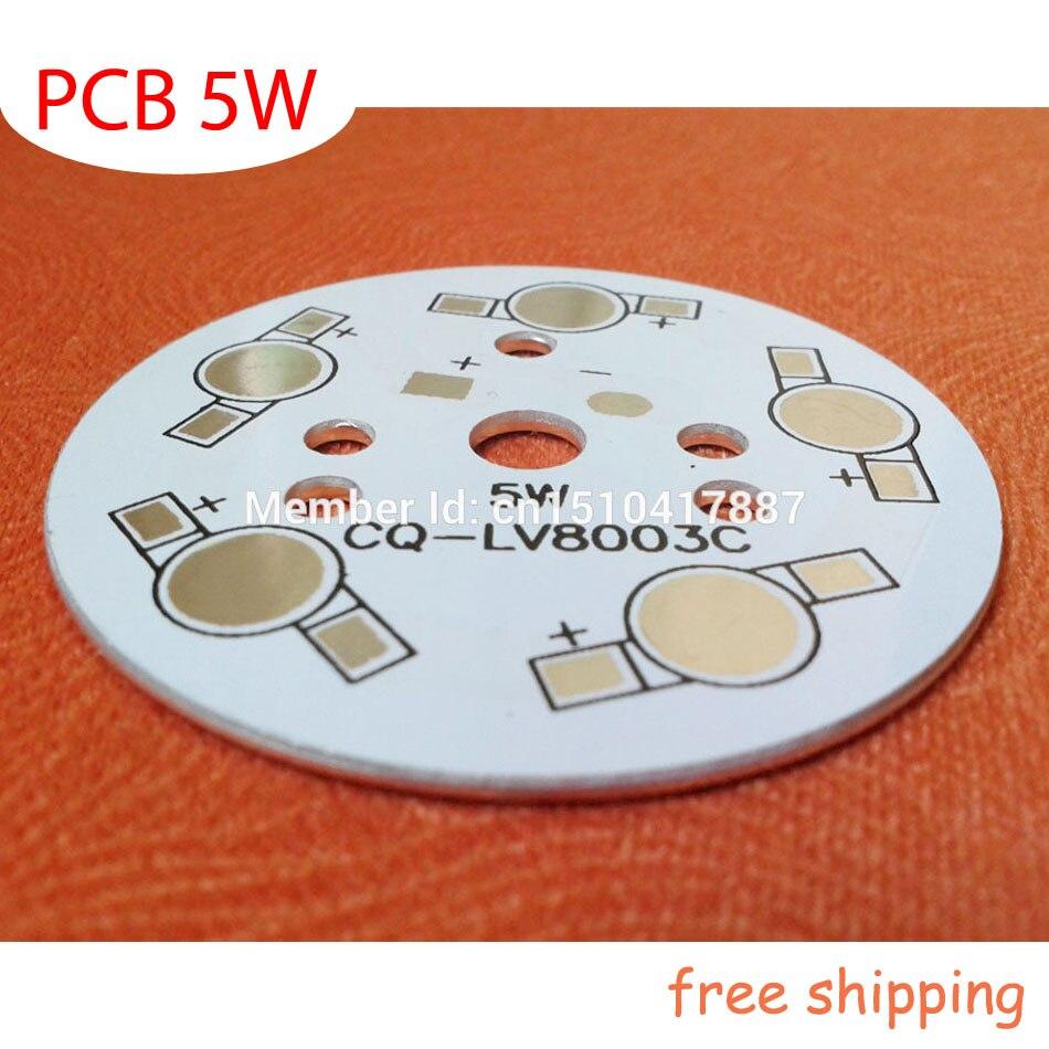 5W LED PCB 49mm For 5pcs LEDs, Aluminum Plate Base, Aluminum PCB Printed Circuit Boards, High Power 5W LED DIY PCB Free Shipping