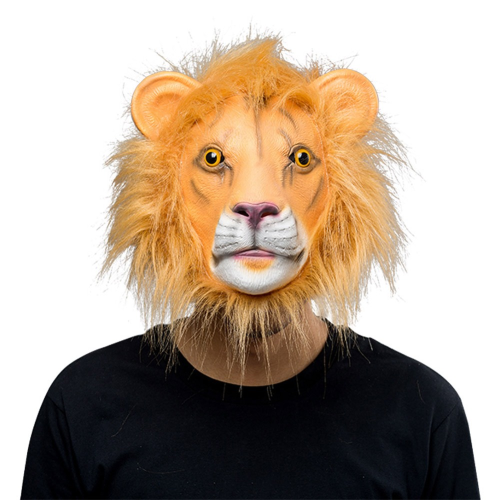 Animal Latex Masks Lion Full Face Mask Adult Cosplay Props Halloween Mask