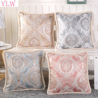 YLW British Royal Custom Large Cotton Relief Embroidery Fabric Pillow Pillowcase Luxury Embroidery Car Sofa Cushion