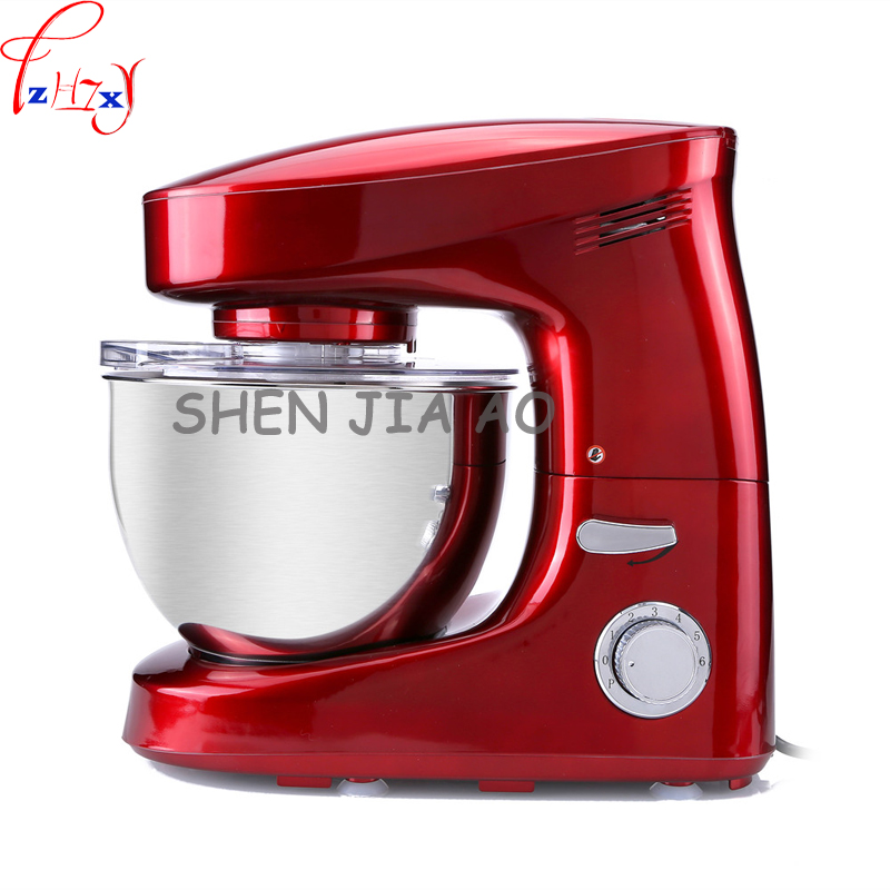 1pc 220V Multi-functional 6L home/commercial stainless steel chef machine and noodle machine kneading milk beat egg machine