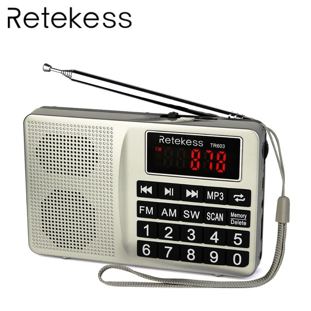 RETEKESS TR603 Radio Receiver FM AM Shortwave USB Radio Mp3 Digital Tuning Receiver Support TF Card With Rechargeable Battery