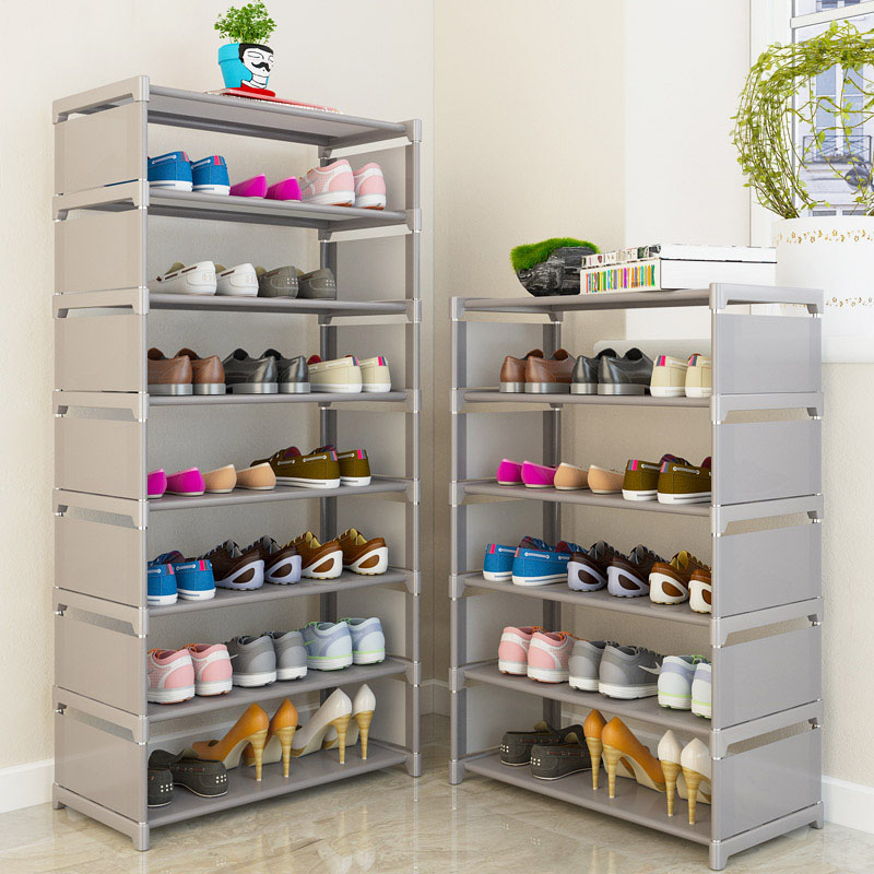 Simple Shoe Rack Mental Multi-layer Assembly Storage Shoe Rack Modern Minimalist Dustproof Non-woven Cloth Shoe Cabinet