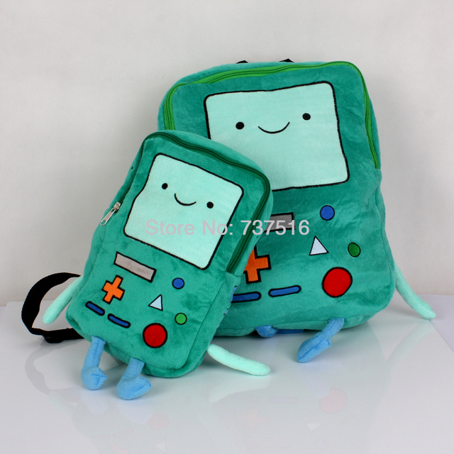 """New Adventure Time Beemo BMO Pelúcia 15 """"& 11'' das Mochilas De Pelúcia Verde Saco de Livro Para Crianças Dom Brinquedos Conjunto De 2 Pcs"""