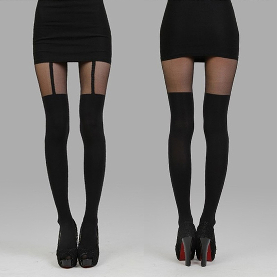 Hot Sexy Mock Suspender Tights Elegant Collant Soft And -7098