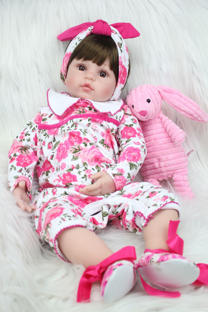 60cm Silicone Reborn Princess Baby Doll Toys Like Real 24inch Vinyl Toddler Girls Babies Dolls Kids