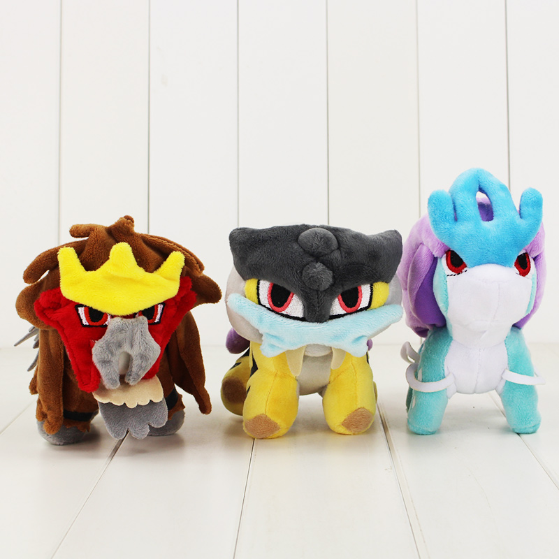 15-17cm Raikou Suicune Entei Plush Cartoon Doll Toys Hot Japanese Anime Figure Stuffed Dolls Toy Popular For Kids Christmas Gift