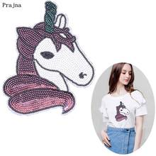 Prajna Unicorn Sequined Patches Cartoon Style For Clothing Accessories Hot Sale Stickers On Clothes T-shirt Bags DIY